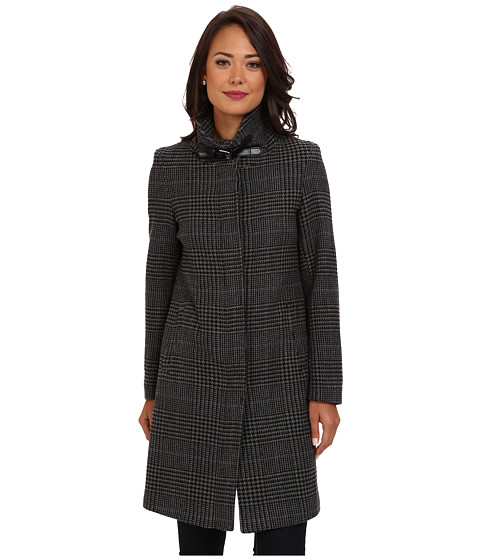 LAUREN by Ralph Lauren - Prince Of Whales Balmacaan (Grey/Black) Women's Coat