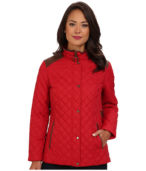 LAUREN by Ralph Lauren - Faux Leather Trim Barn (Heritage Red) Women's Coat