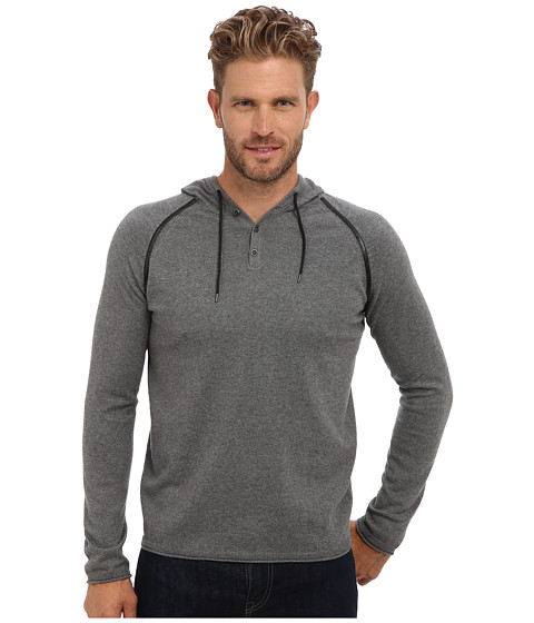 Kenneth Cole Sportswear - L/S Pullover Hoodie w/ Faux Leather Trim (Flannel Heather) Men