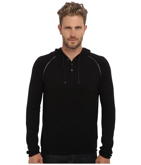 Kenneth Cole Sportswear - L/S Pullover Hoodie w/ Faux Leather Trim (Black) Men
