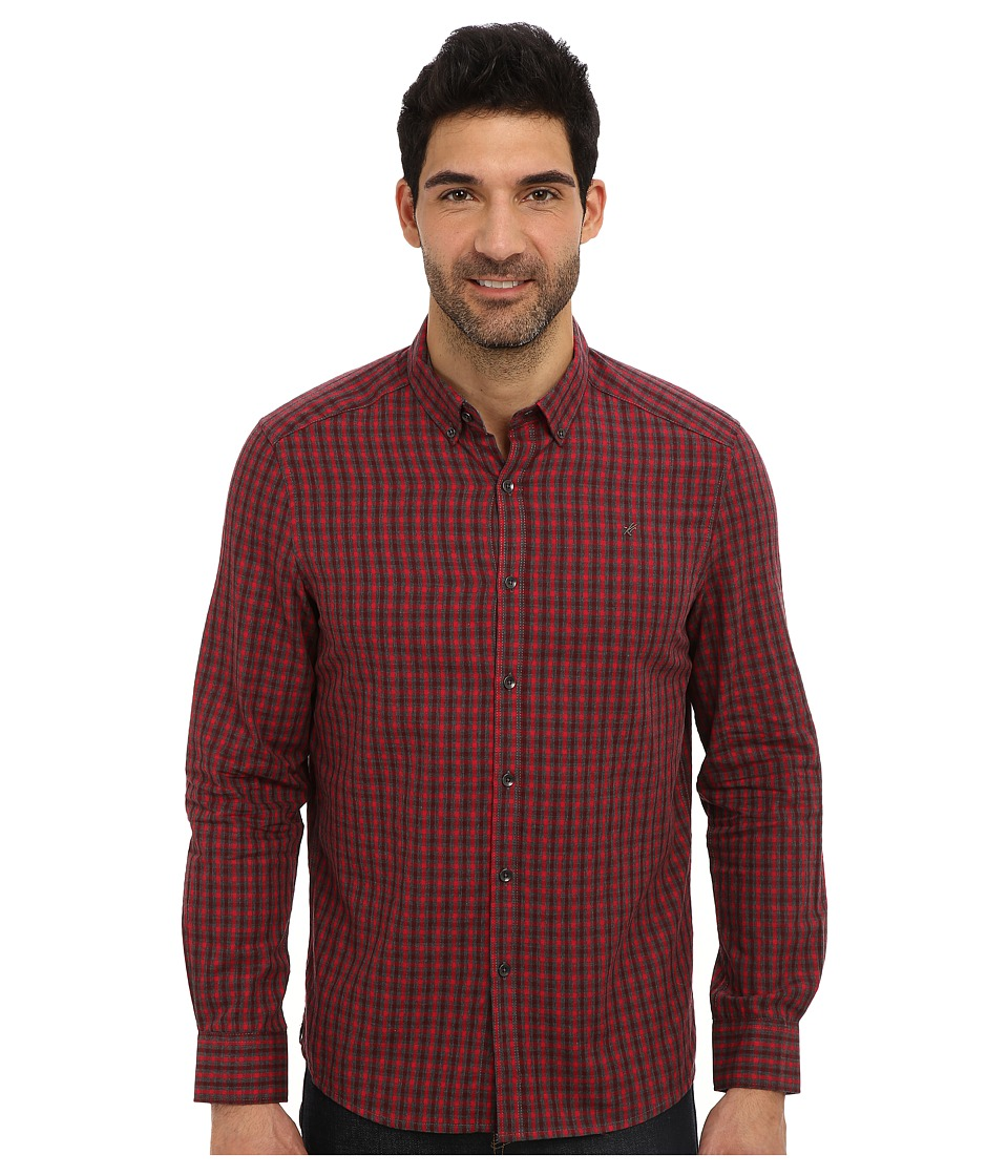 Kenneth Cole Sportswear - L/S Dobby Check Button-Down (Punch Combo) Men's Long Sleeve Button Up