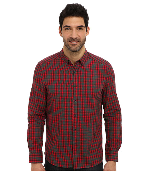 Kenneth Cole Sportswear - L/S Dobby Check Button-Down (Punch Combo) Men