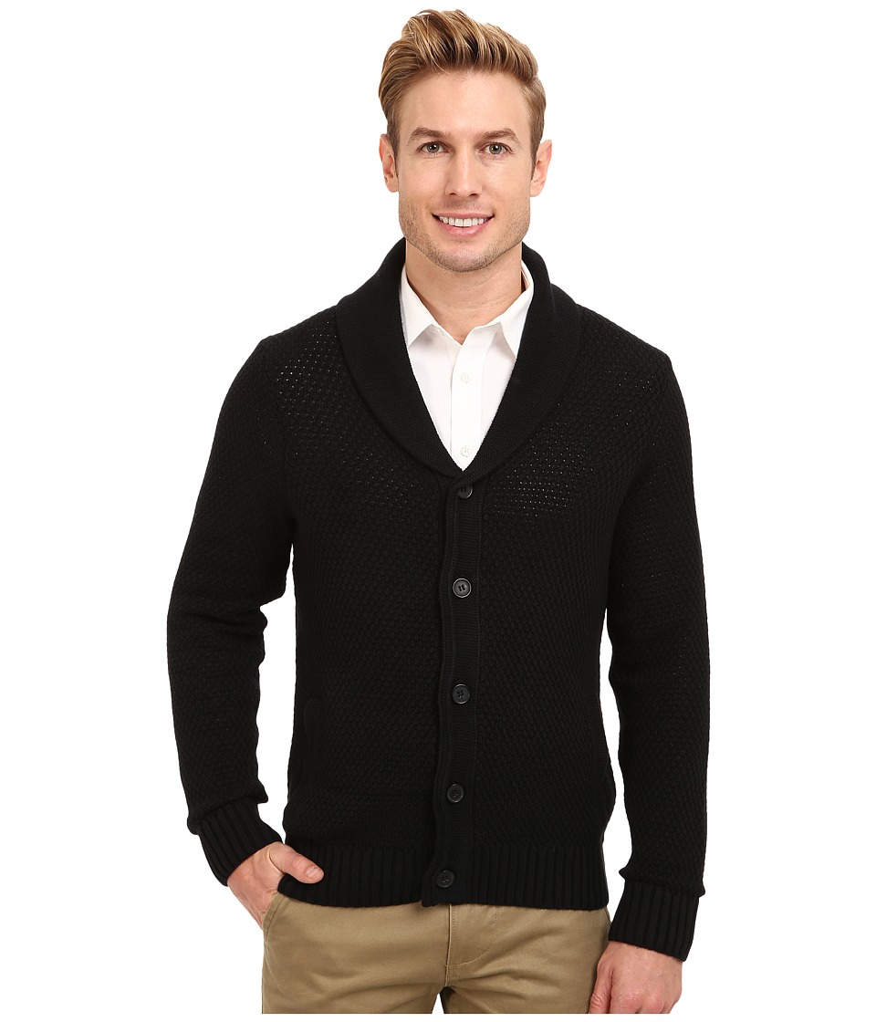 Kenneth Cole Sportswear - L/S Shawl Collar Cardigan (Black) Men's Sweater