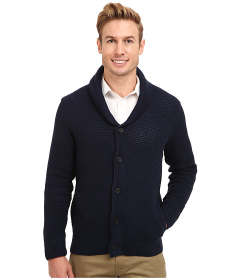 Kenneth Cole Sportswear - L/S Shawl Collar Cardigan (Indigo) Men's Sweater
