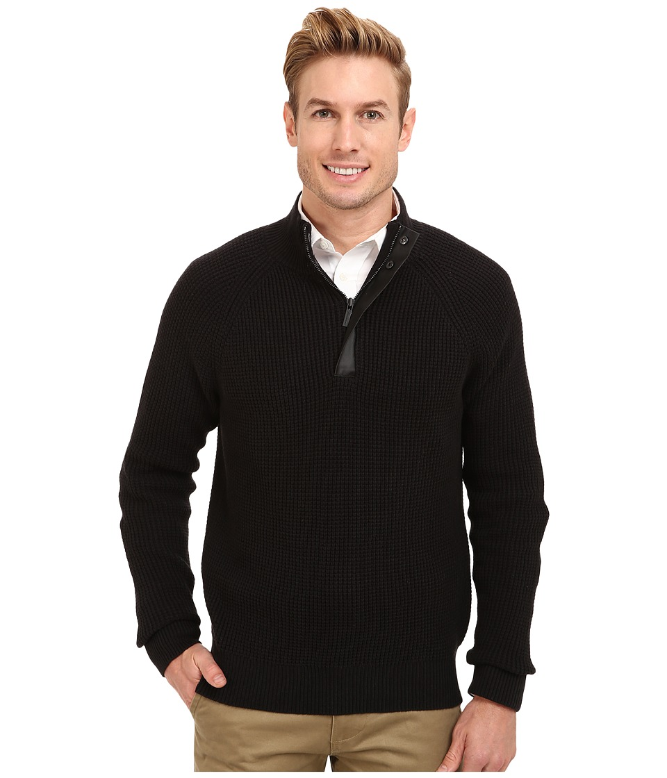 Kenneth Cole Sportswear - 1/2 Zip Mock with Coating (Black) Men's Sweater