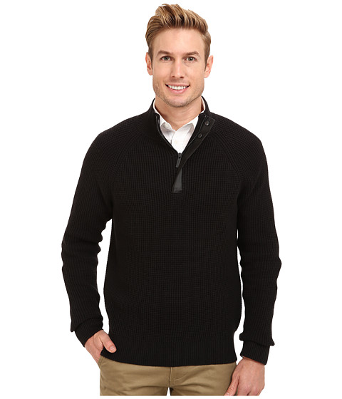 Kenneth Cole Sportswear - Half Zip Mock with Coating (Black) Men's Sweater