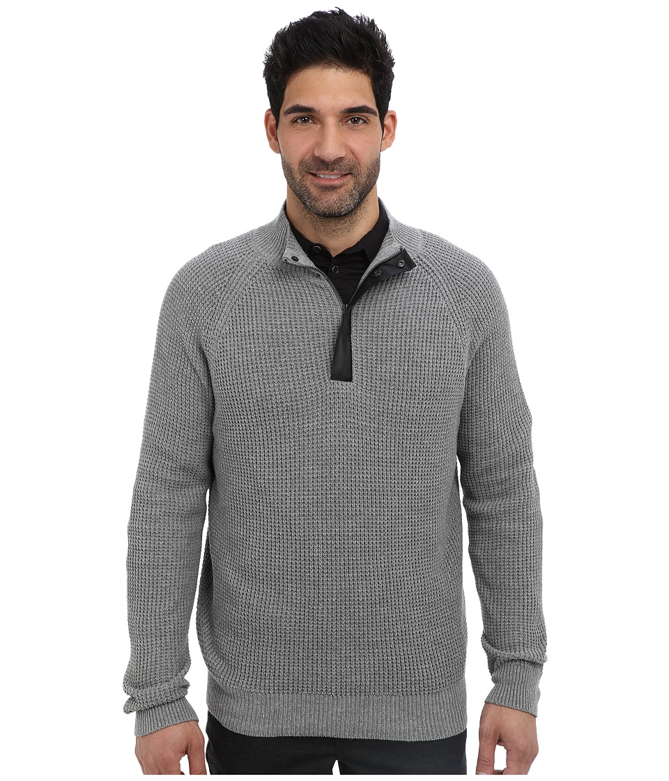 Kenneth Cole Sportswear - Half Zip Mock with Coating (Flannel Heather) Men's Sweater