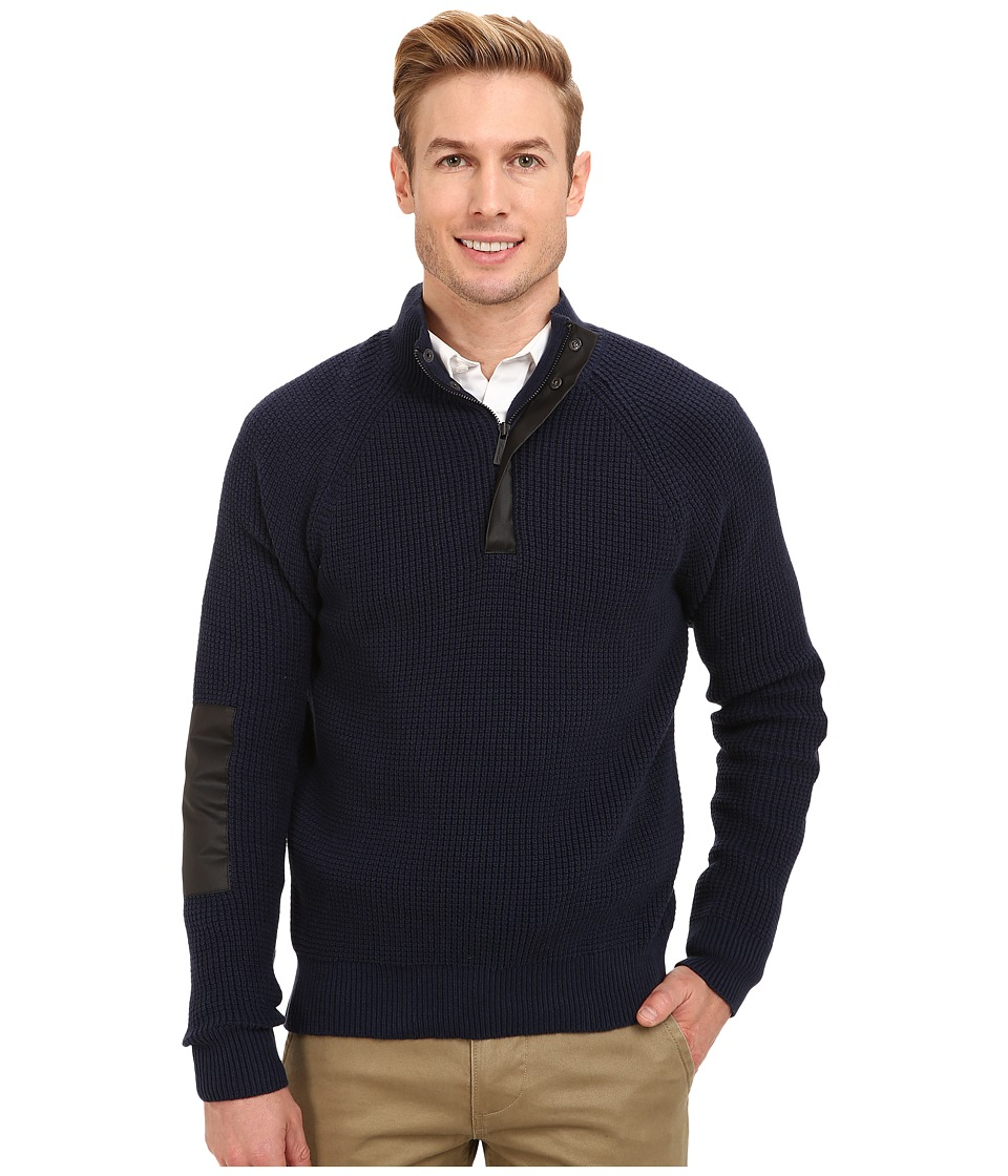Kenneth Cole Sportswear - Half Zip Mock with Coating (Indigo) Men's Sweater