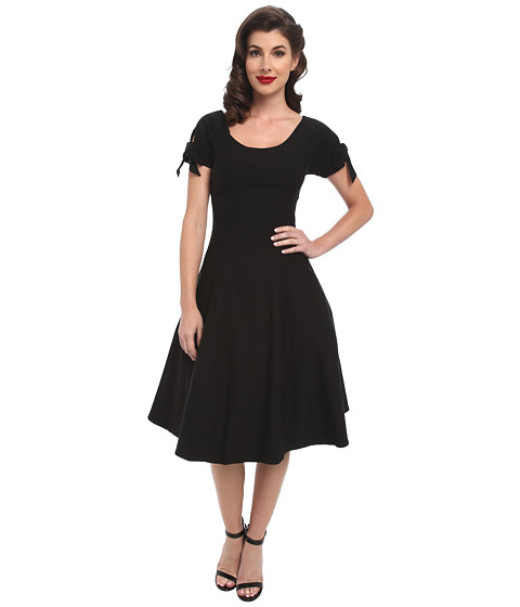 Unique Vintage - Stretch Key-Hole Doris Swing Dress (Black) Women