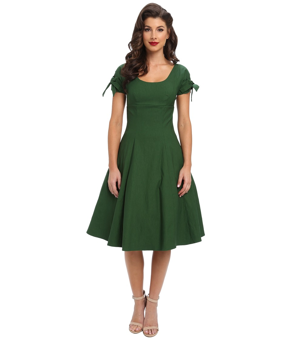 Unique Vintage - Stretch Key-Hole Doris Swing Dress (Green) Women's Dress