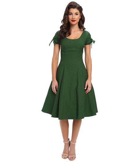 Unique Vintage - Stretch Key-Hole Doris Swing Dress (Green) Women's Dress