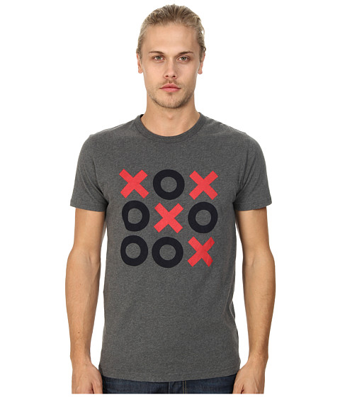French Connection - Tic-Tac-Toe (Charcoal Melange/Marine Blue) Men's T Shirt