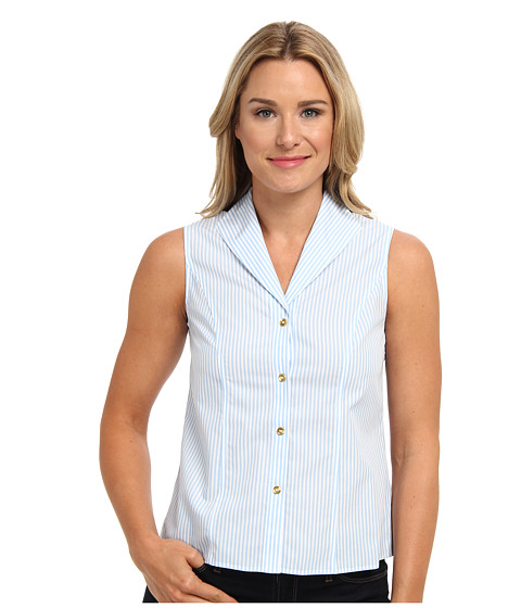Jones New York - Sleeveless Blouse (White/Periwinkle) Women's Sleeveless