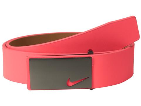 Nike - Sleek Modern Plaque (Laser Crimson) Men's Belts
