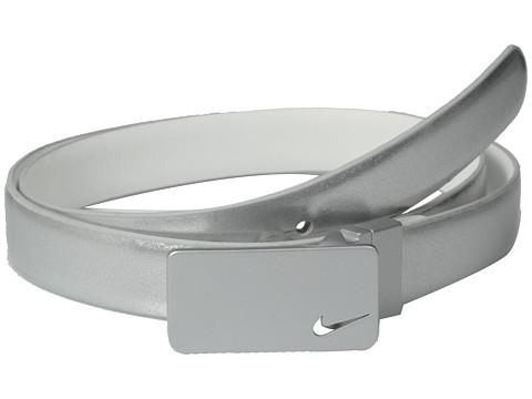 Nike - Skinny Plaque Reversible (Silver/White) Women's Belts