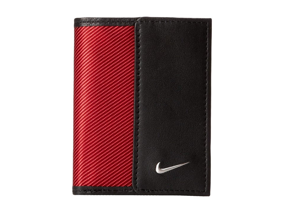 Nike - Nike Leather/Tech Twill Credit Card Fold (Red) Credit card Wallet