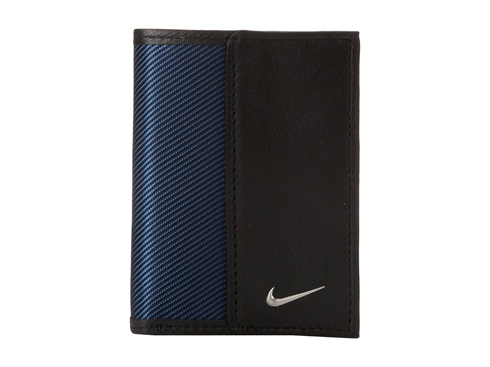 Nike - Nike Leather/Tech Twill Credit Card Fold (Navy) Credit card Wallet