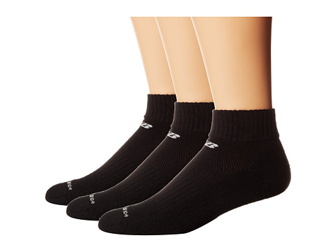 New Balance - Cotton Quarter 3 Pack (Black) Quarter Length Socks Shoes