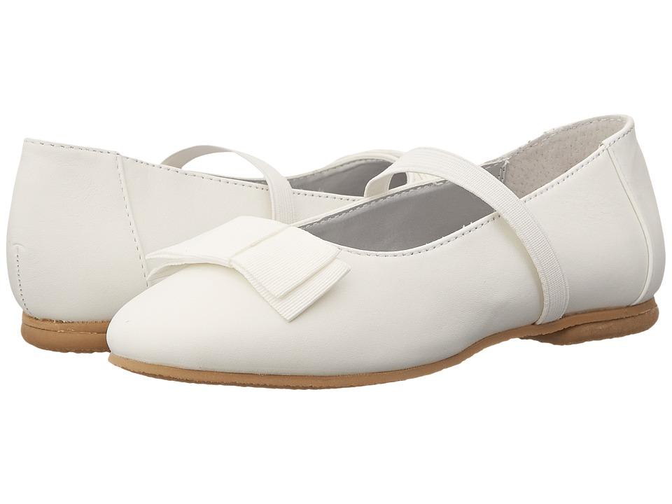 Jumping Jacks Kids - Balleto - Samantha (Toddler/Little Kid/Big Kid) (White Leather/White Faille Trim) Girls Shoes
