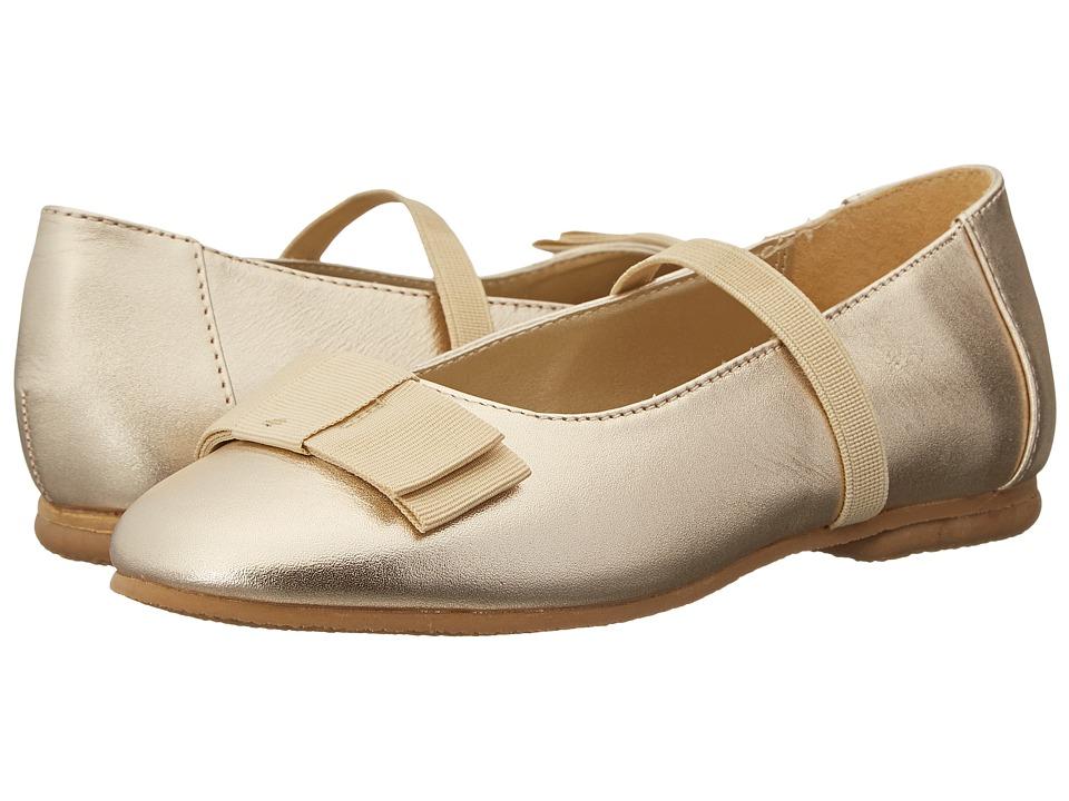 Jumping Jacks Kids - Balleto - Samantha (Toddler/Little Kid/Big Kid) (Soft Gold Leather/Gold Faille Trim) Girls Shoes