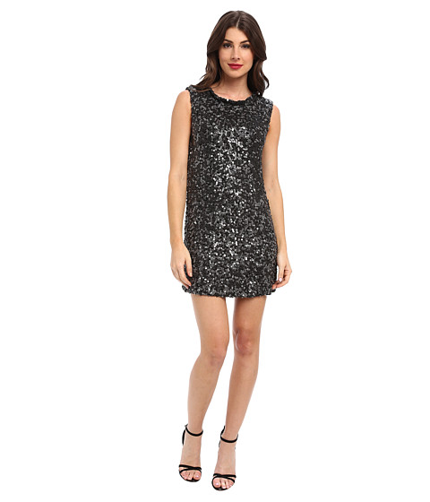 Rachel Zoe - Cyrus Leather Sequin Dress (Black) Women's Dress