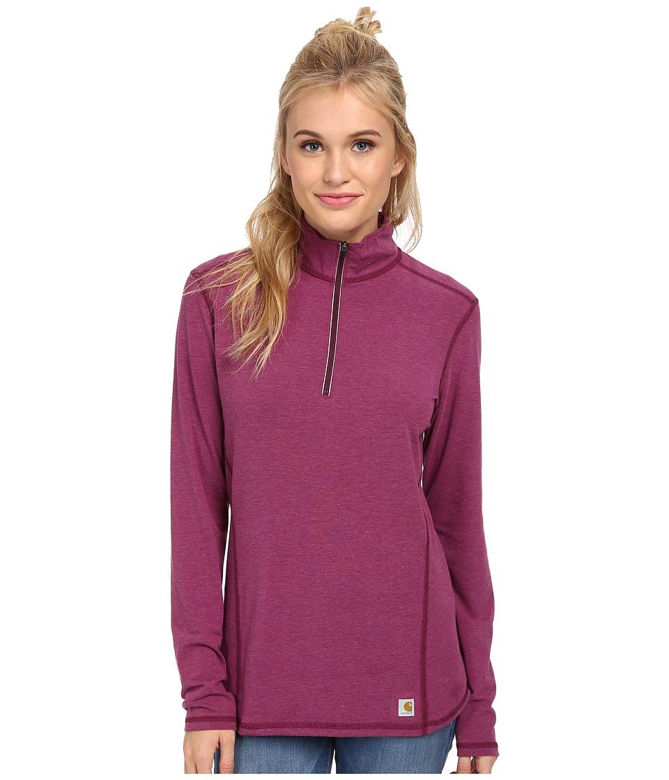 Carhartt - Force Quarter Zip Shirt (Magenta Heather) Women's Long Sleeve Pullover