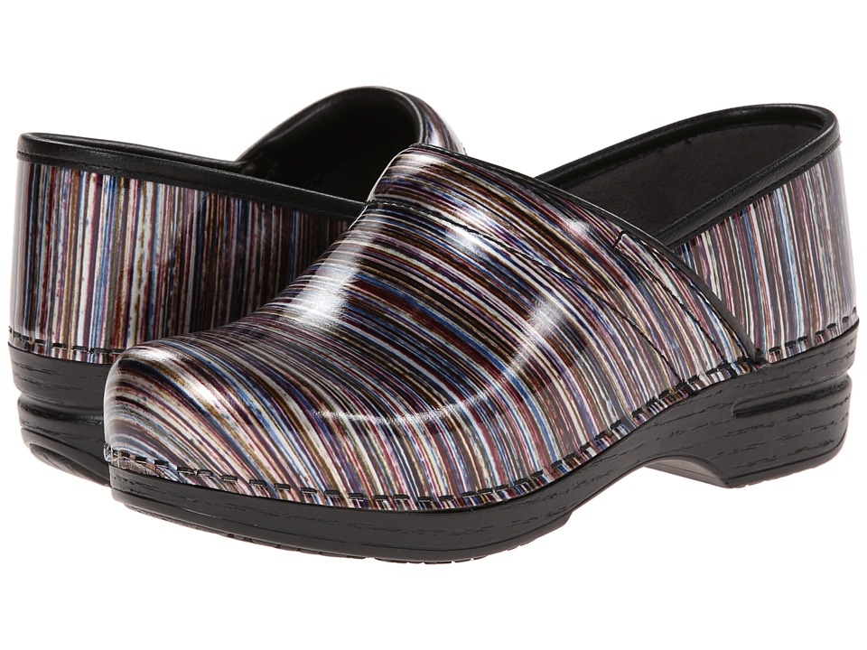 Dansko - Pro XP (Grey Stripe Patent) Women's Clog Shoes