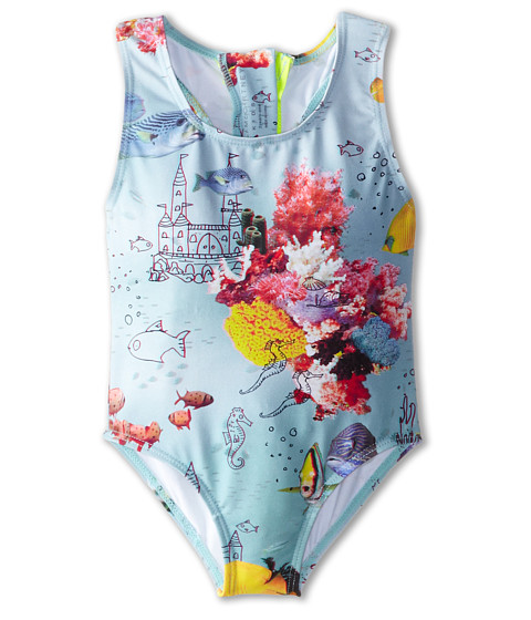 Stella McCartney Kids - Imogen One-Piece Fish Print Swimsuit (Toddler/Little Kids/Big Kids) (Blue) Girl's Swimsuits One Piece