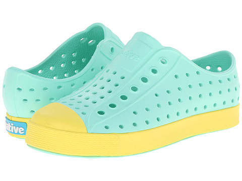 Native Kids Shoes - Jefferson (Toddler/Little Kid) (Glass Green/Gone Bananas Yellow) Girls Shoes