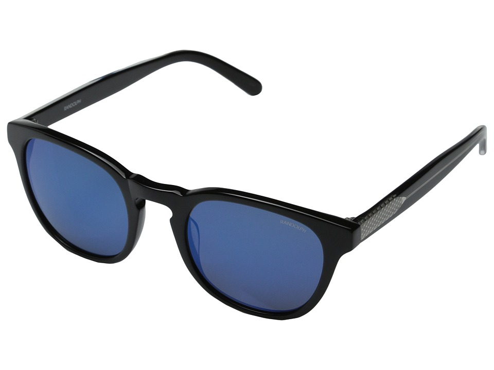 Randolph - Ashby Flash Mirror 50mm (Black Acetate/Blue Flash Mirror) Fashion Sunglasses
