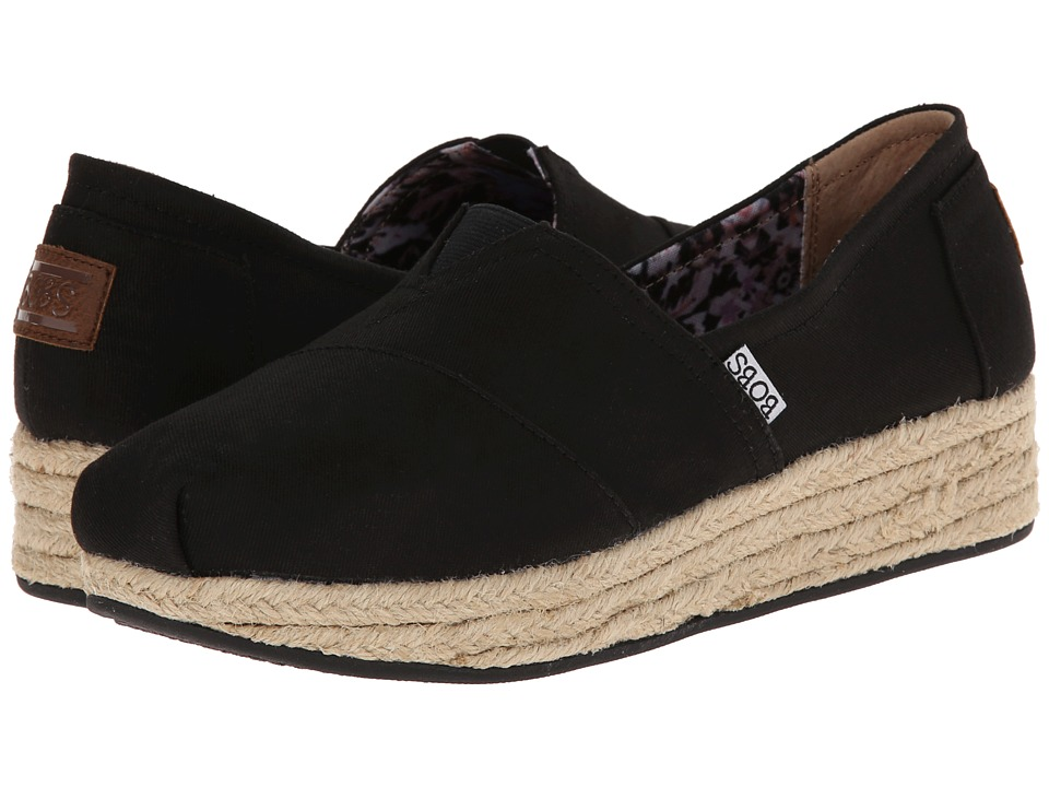 BOBS from SKECHERS - Wedge Espadrille Memory Foam (Black) Women's Wedge Shoes
