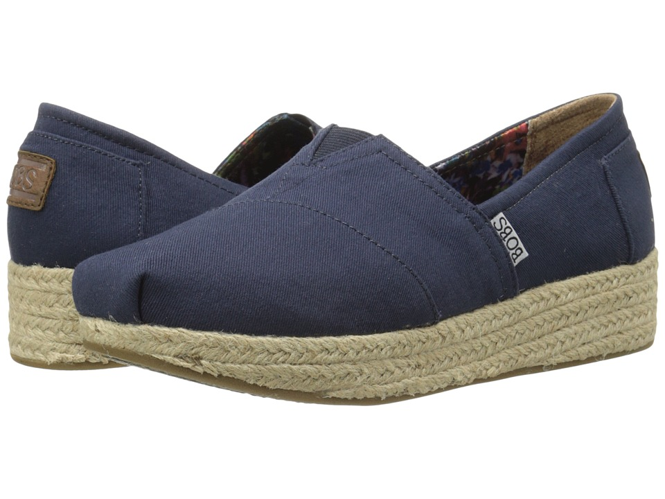 BOBS from SKECHERS Wedge Espadrille Memory Foam (Navy) Women