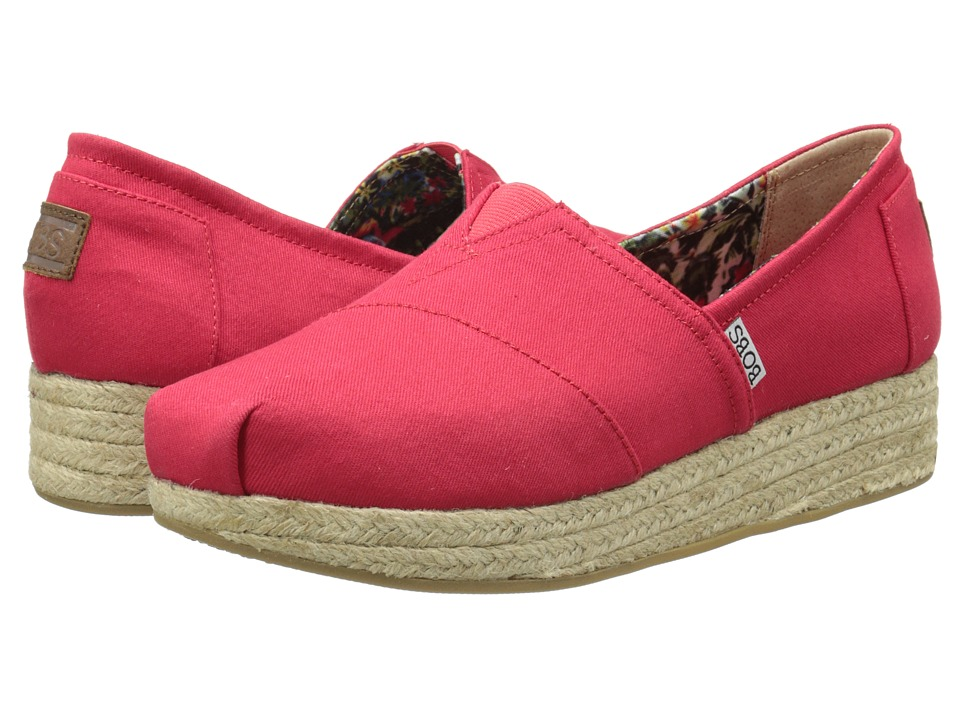 BOBS from SKECHERS - Wedge Espadrille Memory Foam (Red) Women's Wedge Shoes