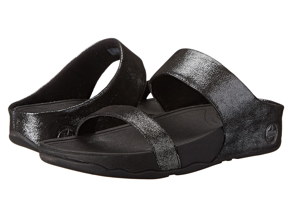 FitFlop Lulu Shimmersuede Slide (Black) Women