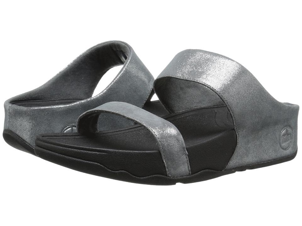 FitFlop - Lulu Shimmersuede Slide (Pewter) Women's Sandals