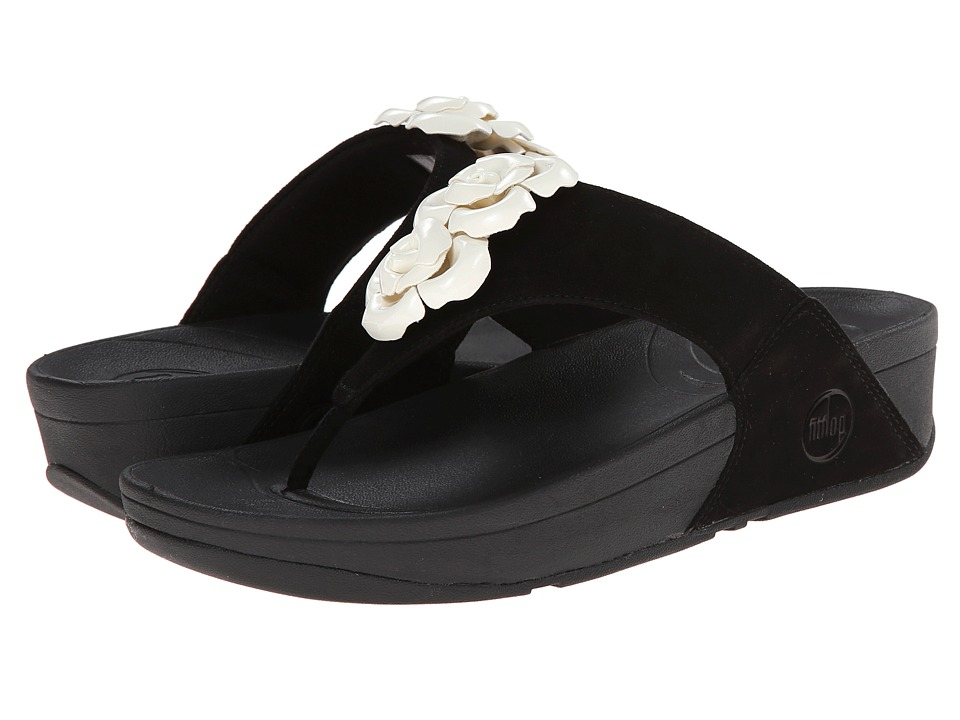 FitFlop - Bloom Toe-Post (Black/White) Women