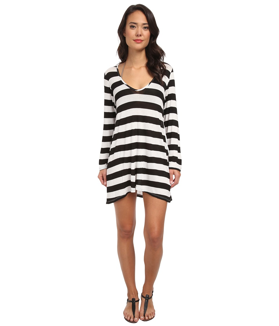 Athena - Finesse Solids Stripe Tunic Cover-Up (Black) Women's Swimwear