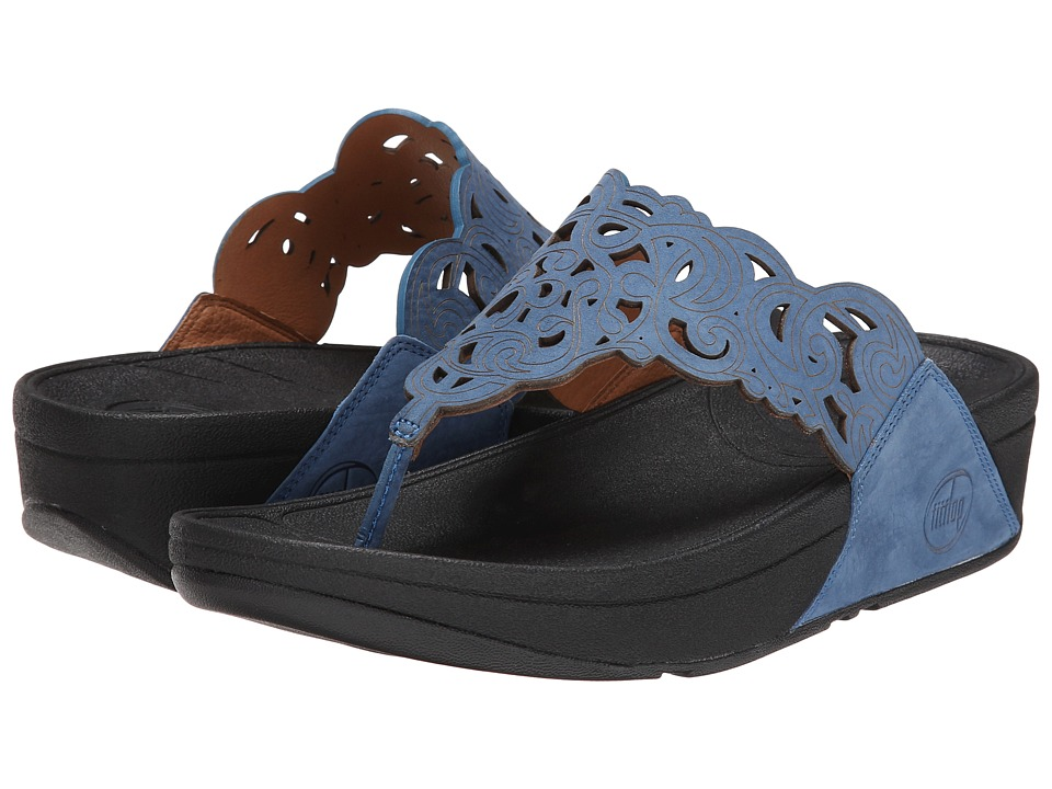 FitFlop - Flora (Nubuck) (Devon Blue) Women's Sandals