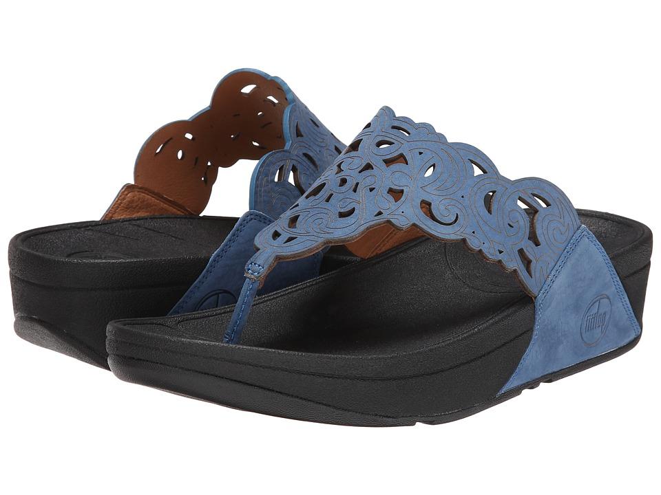 FitFlop - Flora (Nubuck) (Devon Blue) Women's Sandals