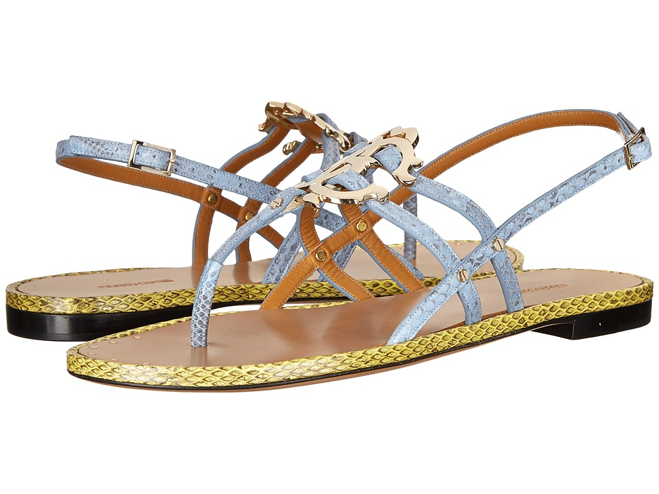 Roberto Cavalli - Color Block Flat Sandal (Sky Blue/Acid Yellow Ayers) Women's Dress Sandals