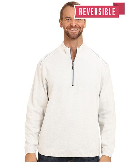 Tommy Bahama Big & Tall - Big Tall New Flip Side Pro Reversible Half Zip Sweatshirt (Continental Heather) Men