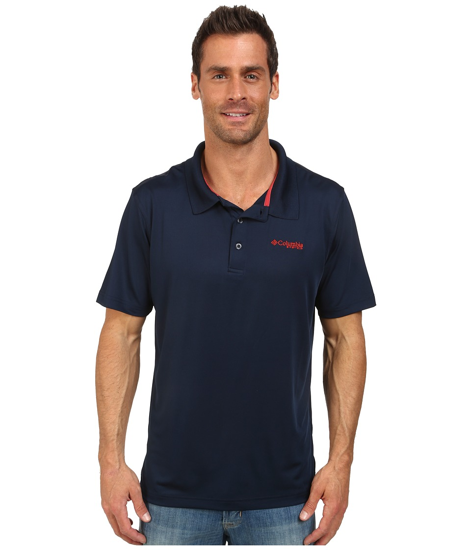 Columbia - Low Drag Polo (Collegiate Navy/Sail Red) Men's Short Sleeve Pullover