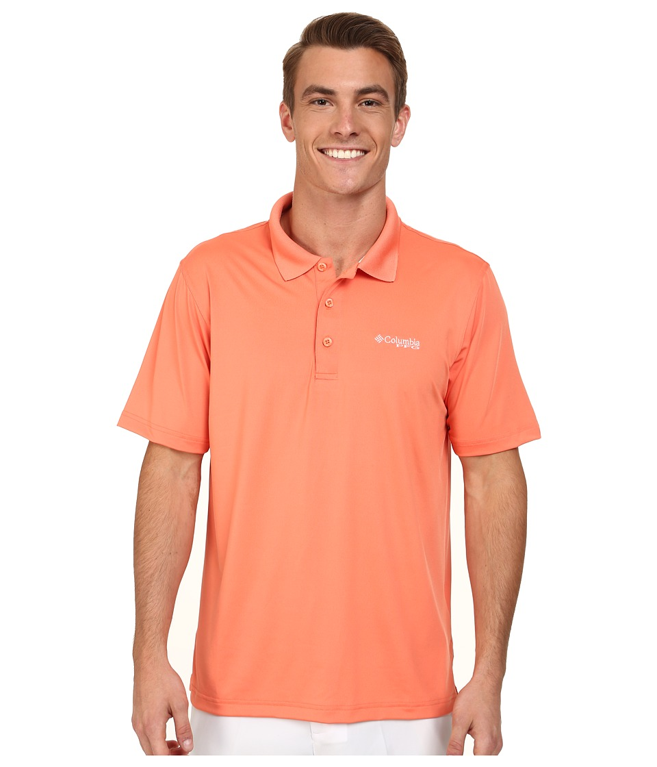 Columbia - Low Drag Polo (Bright Peach/White) Men's Short Sleeve Pullover
