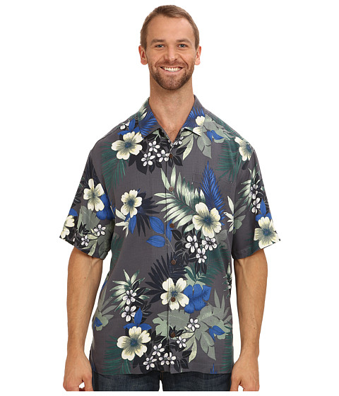 Tommy Bahama Big & Tall - Big Tall Gaugantic Floral S/S Camp Shirt (Black) Men's Short Sleeve Button Up