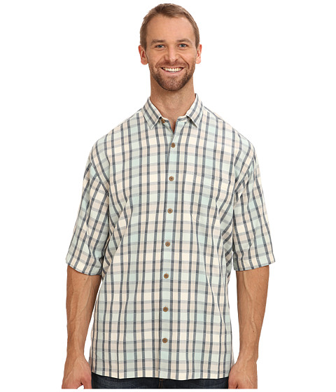 Tommy Bahama Big & Tall - Big Tall Howard Plaid S/S Camp Shirt (French Clay) Men