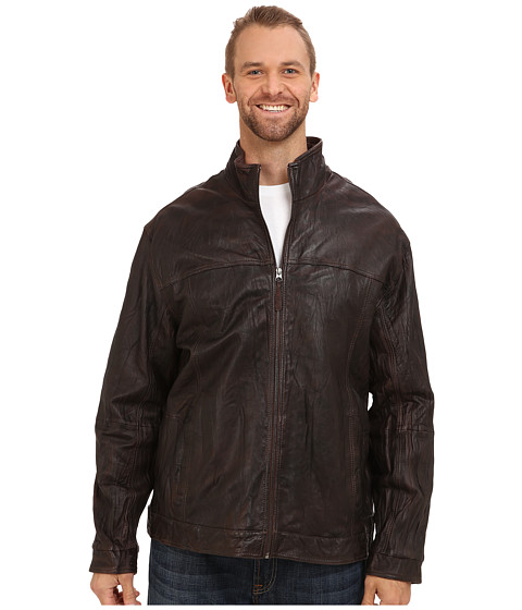 Tommy Bahama Big & Tall - Big Tall Sunset Rider Leather Jacket (Dark Brown) Men