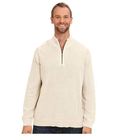 Tommy Bahama Big & Tall - Big Tall East River Half Zip Sweater (Light Sand) Men's Clothing