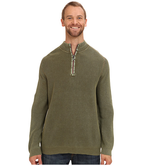 Tommy Bahama Big & Tall - Big Tall East River Half Zip Sweater (Oakmoss) Men's Clothing