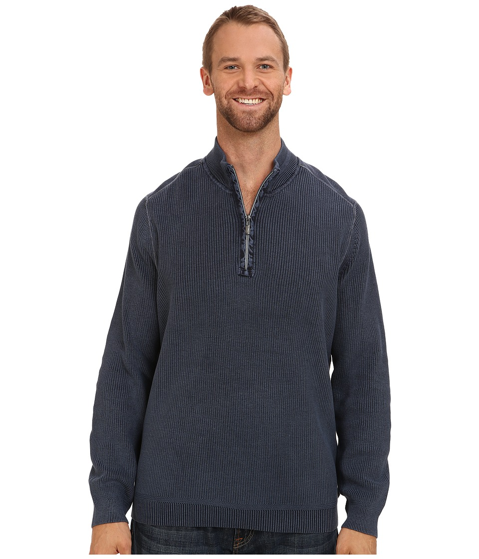 Tommy Bahama Big & Tall - Big Tall East River Half Zip Sweater (Blue Note) Men's Clothing