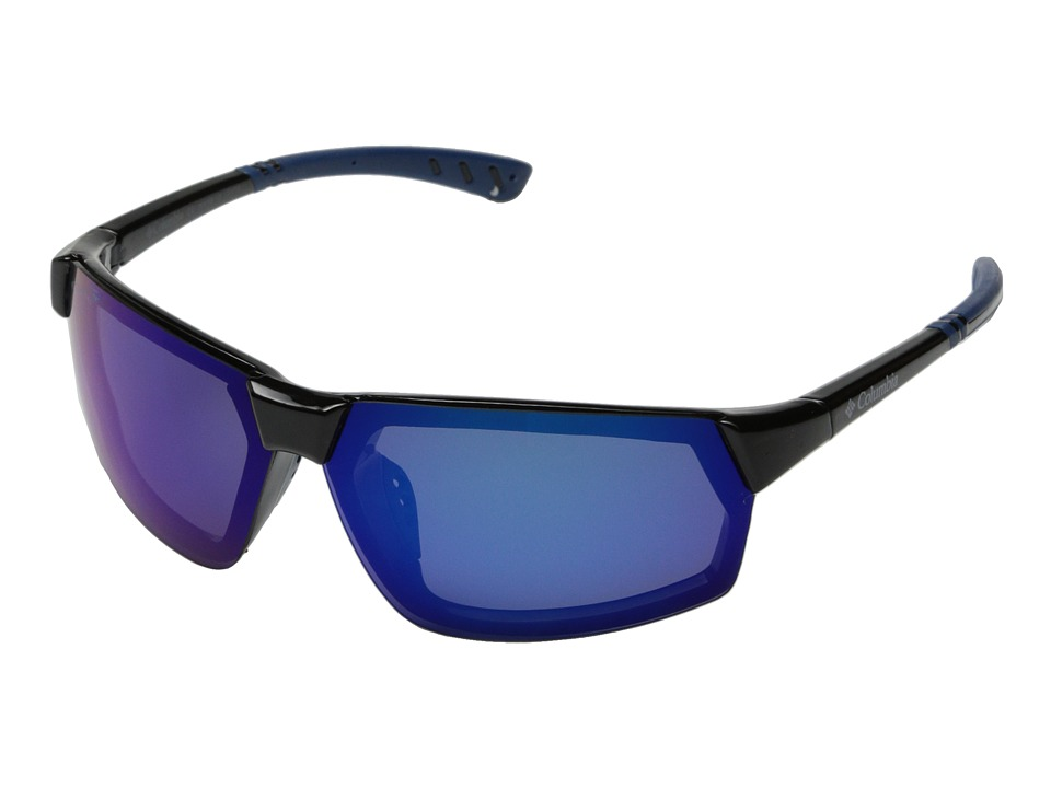 Columbia - 202 (Shiny Black/Blue Flash Polarized) Sport Sunglasses